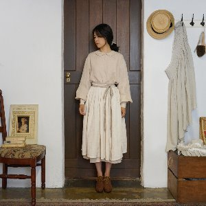 Linen gather skirt